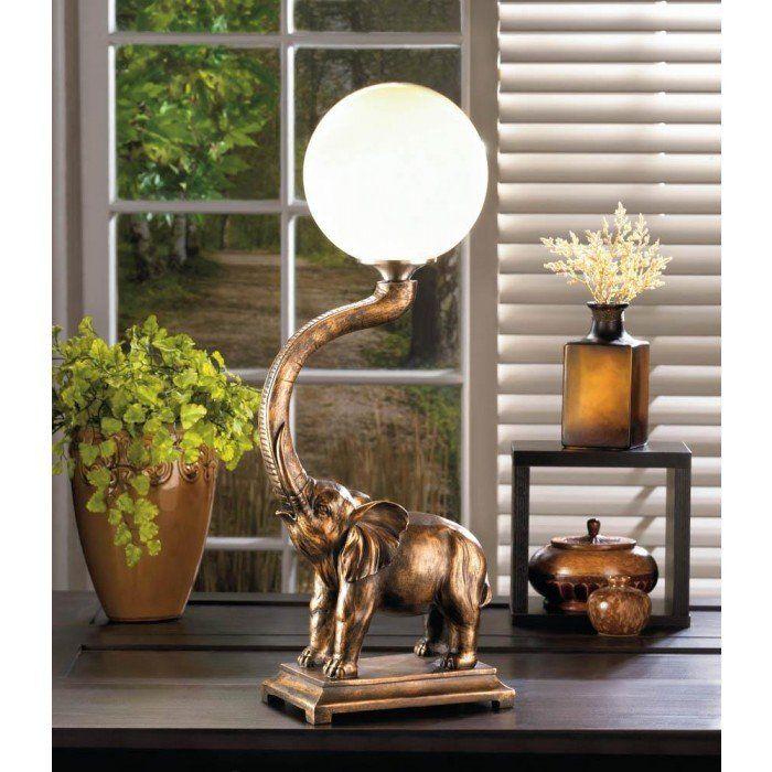 Retro Lucky Bronze ELEPHANT Statue Globe Bedside End Table Lamp Night Light  L
