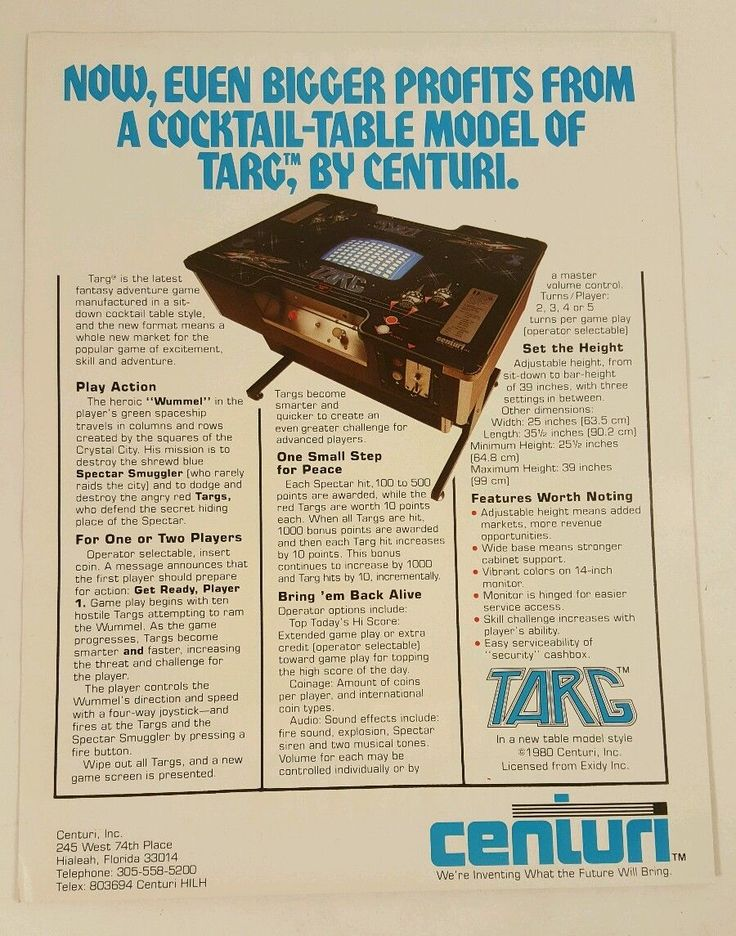 TARG by CENTURI Original Rare Video Arcade Game PROMO Sales Flyer | FreeShip! | eBay
