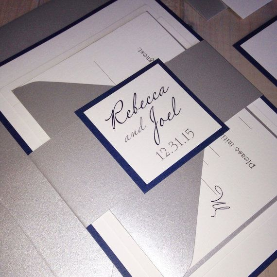 Navy and Silver Wedding Invitations Navy by InspirationIDoDesign