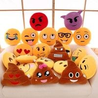 Wish | 32cm Bed Home Office Car Emoji Smiley Smile Emoticon Yellow Round Cushion Pillow Stuffed Plush Doll Soft Toy
