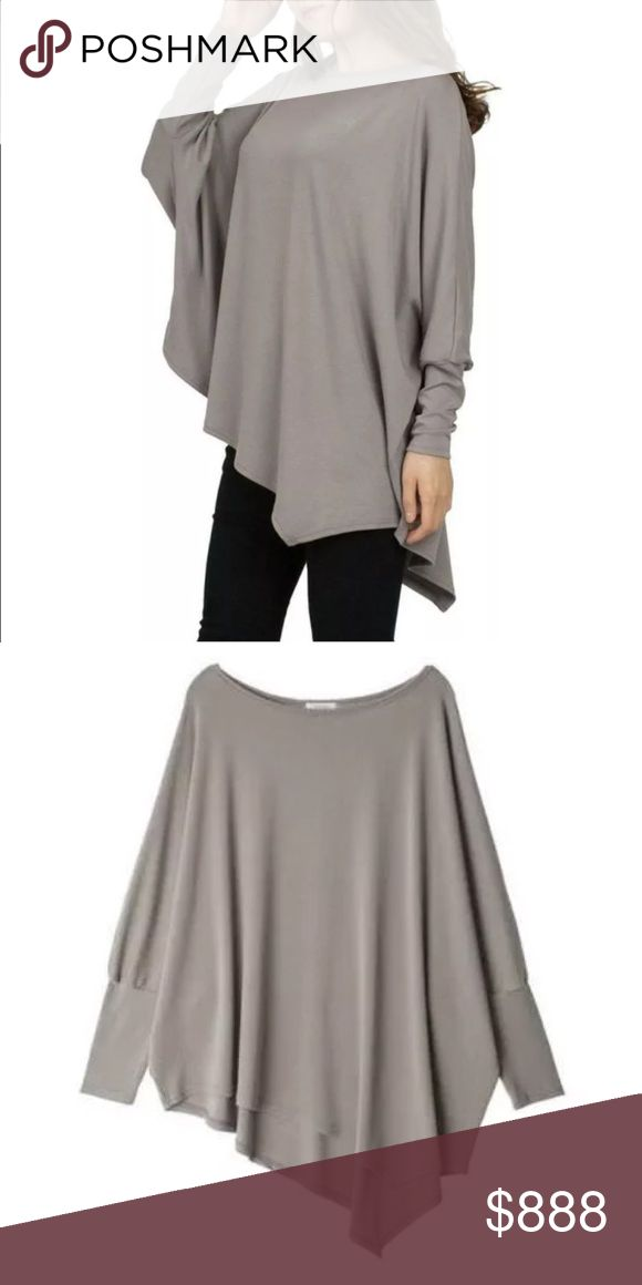 PREVIEW! Asymmetric Batwing Top, Perfect For Fall! LIKE THIS LISTING TO BE NOTIFIED WHEN STOCK ARRIVES!  Great fall neutral top in easy fit, one size fits most shape.  Batwing sleeves and asymmetric hem creates a flattering look that works on any figure.  Bundle for 15% off! Tops Tunics