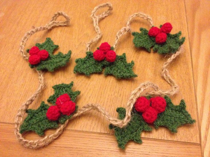Crochet christmas holly garland