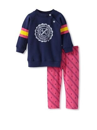 69% OFF Izod Girl's Fleece & Legging 2-Piece Set (Navy/Pink/Yellow)