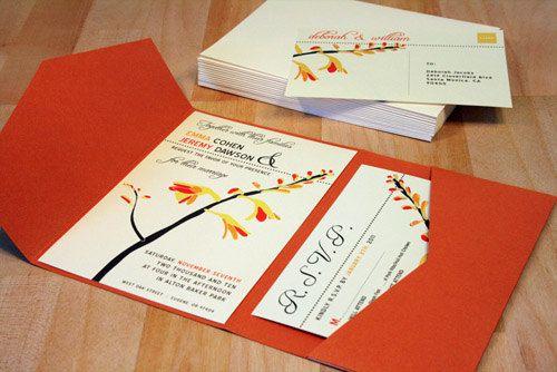 SAMPLE Pocketfold Woodland Flower Wedding Invitation by vohandmade, $3.00