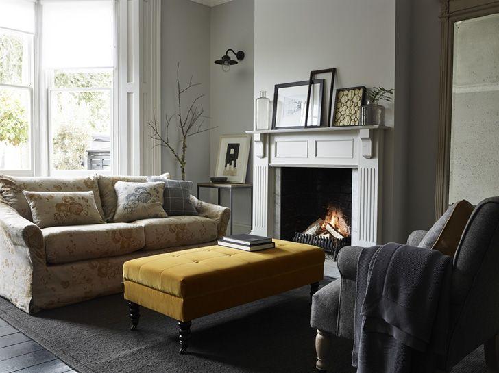 Living Room With Fireplace English Sofa Design