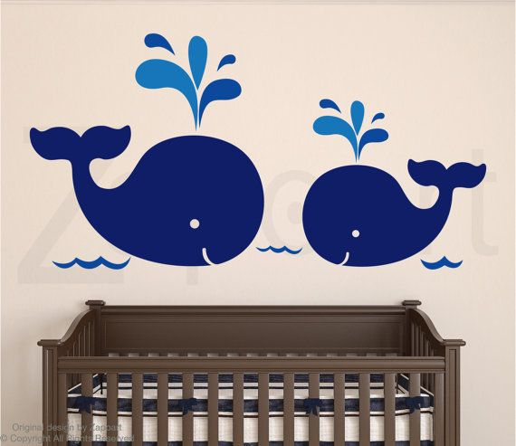 Nursery Decal Mom and Baby Whales Wall Decal