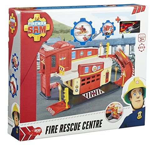 "Fireman Sam Fire Rescue Centre - [gallery] This amazing Fireman Sam Fire Rescue Centre is where all the action happens in Pontypandy! The playset features two decks, tracks and a garage with launching function, so you can race to the rescue! One Die-Cast Wallaby rescue helicopter and various accessories are included, so the fun can start immediately. Assembled, the Rescue Centre measures 24 x 9 x 7"". Great for children from age 3. This amazing Fireman Sam Fire Rescue Centre i"