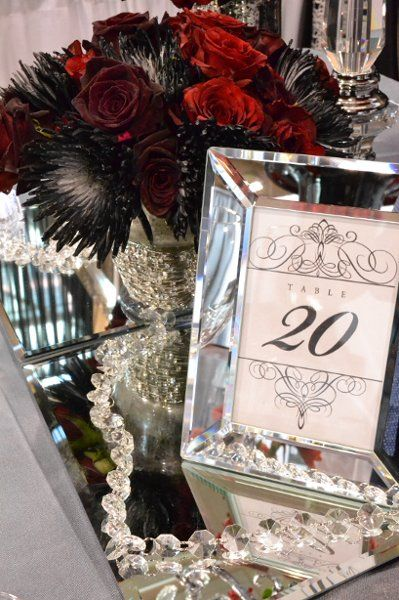 www.lepapillonevents.com, #red #black #silver #wedding #decor #rose #dahlia #table #number #frame