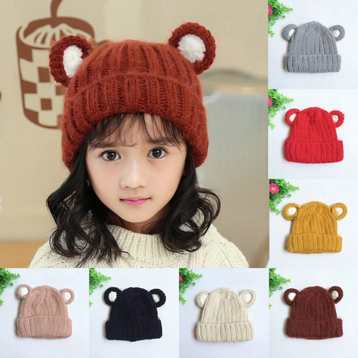 MUQGEW Cute Baby Toddler Ear Pattern Vertical Stripe Knitted Winter Warm Hat Cap Newborn Props Baby Winter Chapeu Infantil Q06 #Affiliate