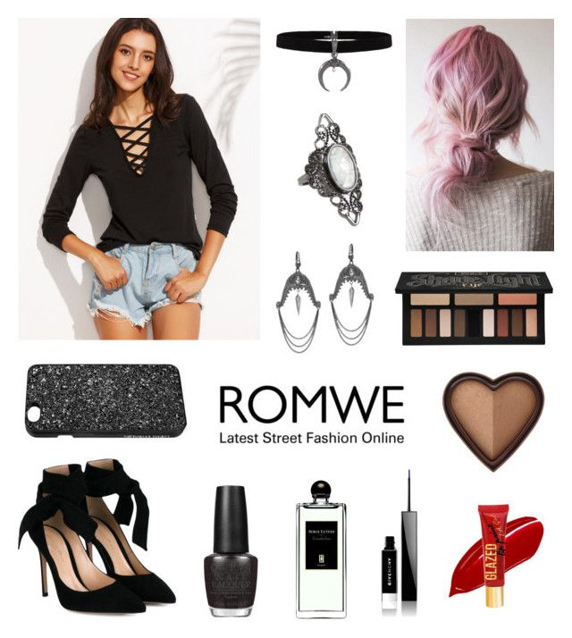 """""""New Starts"""" by roseforbes ❤ liked on Polyvore featuring Kat Von D, Too Faced Cosmetics, Givenchy, Stephen Webster, Gianvito Rossi, Victoria's Secret, Serge Lutens and OPI"""