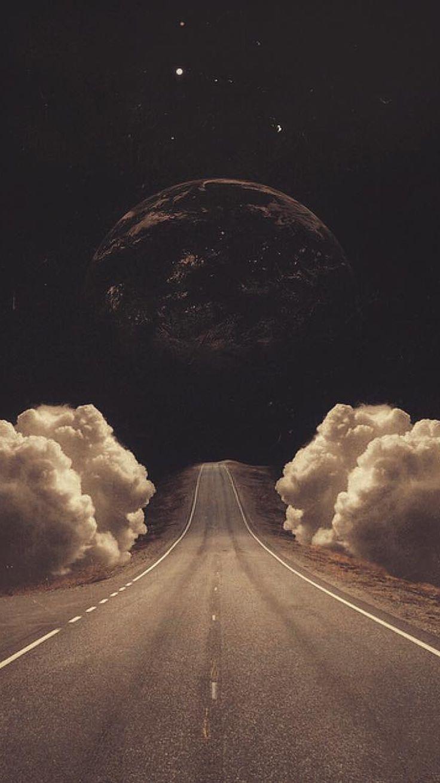Jasmin surreale Kunst Collage Straße Wolken Planet iPhone 6 Wallpaper, #clouds … – Cloudix