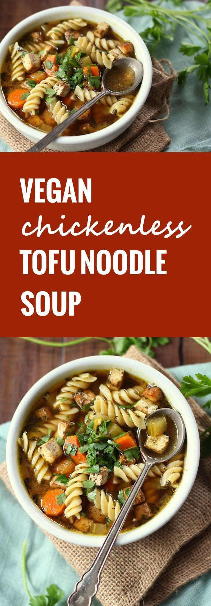 This tofu noodle soup features savory baked tofu, lots of noodles and tender veggies simmered in seasoned vegetable broth.