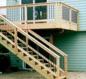 Exterior:Outstanding Deck With Stair Design For Outdoor Home Decoration  With Turquoise Wood Home Light Brown Wood Stair And Light Brown Wood.