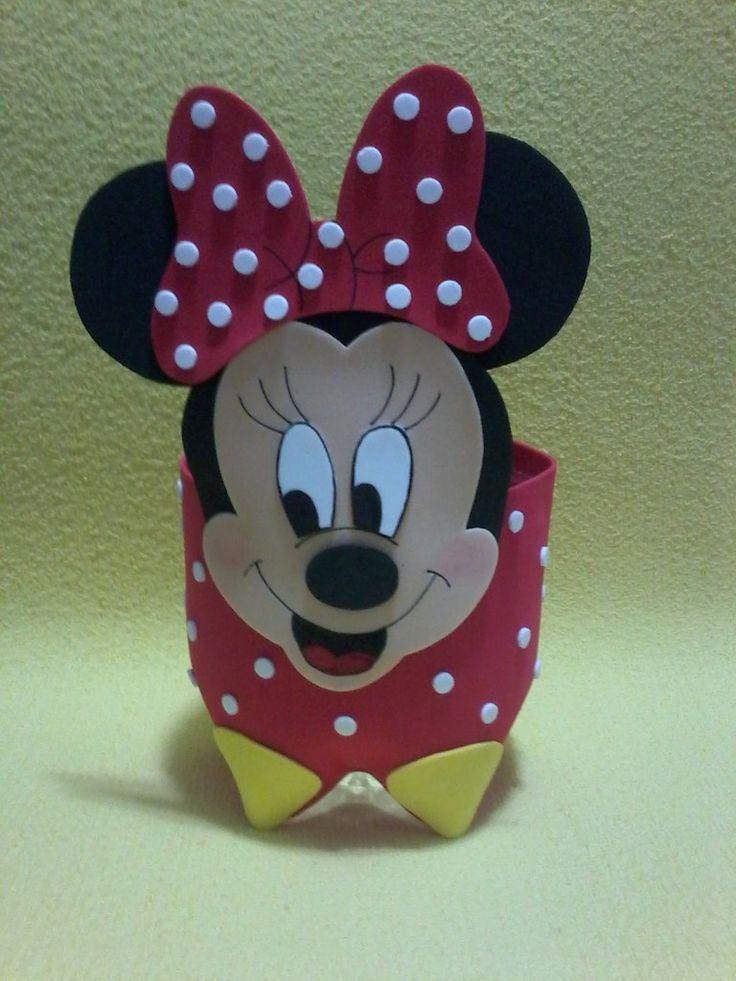 dulceros de Minnie y Mickey mouse reutilizando botellas de plástico