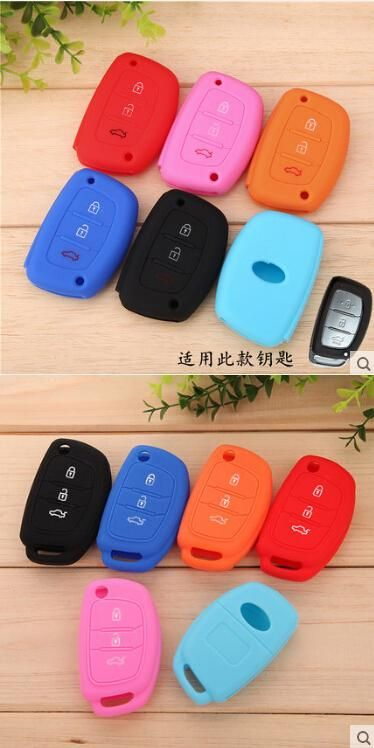 [Visit to Buy] Silicone car key cover for Hyundai i10 i20 i30 i35 iX20 iX35 ix45 iX25 Solaris Verna HB20/KIA Rio K2 K3 K5 Sportage Forte CERATO #Advertisement