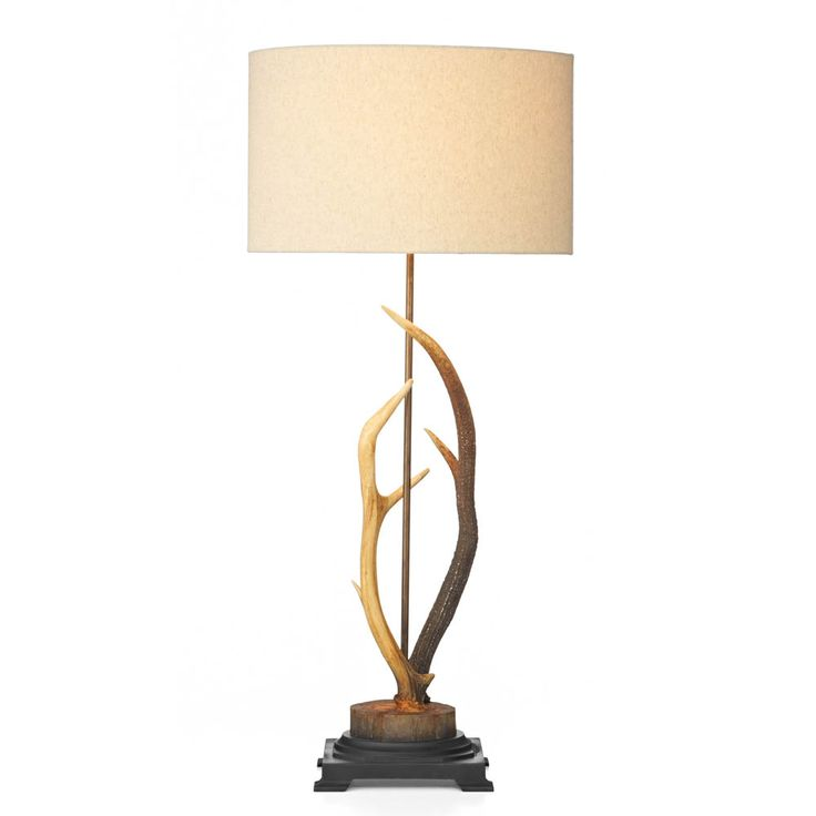 David Hunt Lighting ANT4229 Antler Table Lamp Hand Painted in Rustic colours with S051 Natural Shade