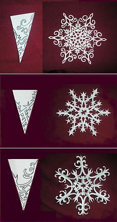 Schneeflocken aus Papier. Pläne zum Abschneiden e…