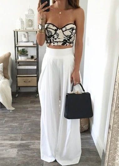 WEBNODE :: Blanco de cintura alta pantalones hasta el tobillo flojo :: Fashionerly