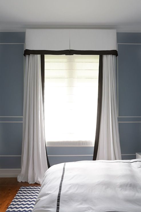 Diane Bergeron Interiors - bedrooms - pleated valance, black and white valance, black and white curtains, black and white drapes, blue walls,