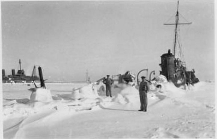 Wreck of ORP Mazur in frozen port of Oksywie, Poland during winter of 1939/1940.
