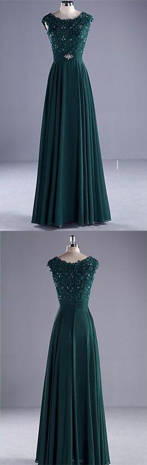 Dark Green Appliques A-Line Prom Dress,Long Prom Dresses,Charming Prom Dresses,Evening Dress Prom Gowns, Formal Women Dress,prom dress
