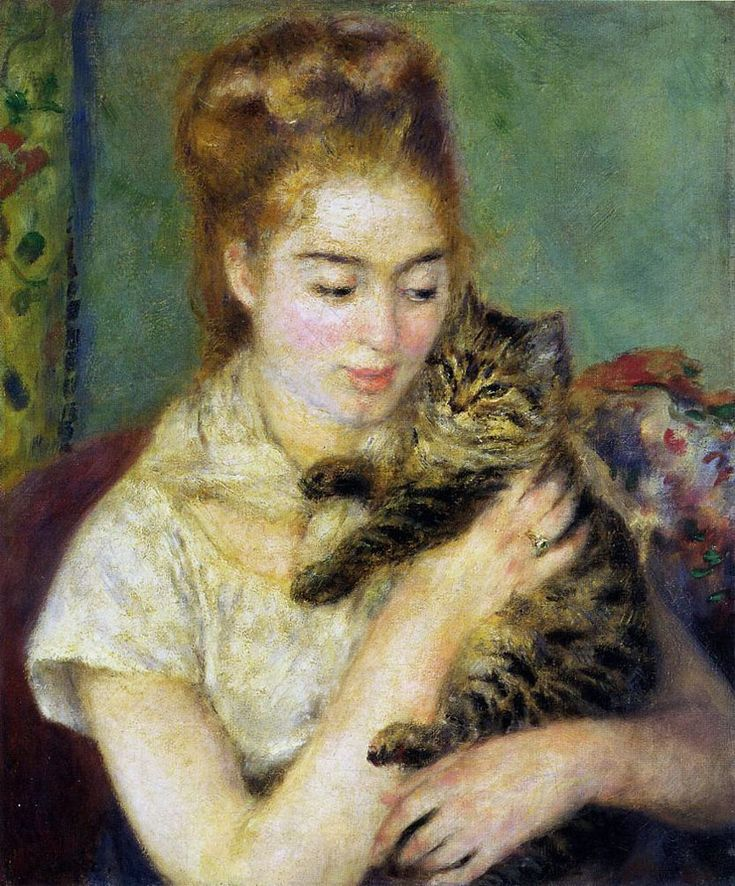 'Woman with a Cat' (1875) by French Impressionist painter Pierre-Auguste Renoir (1841-1919)