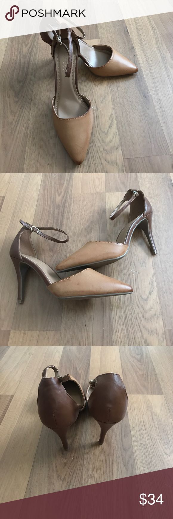 """Bamboo strappy heels New condition (only flaws to note are some scuffing on the bottom). Camel color with unique markings for some added flare. Super cute heel! Size 10. About a 4"""" heel. bamboo Shoes Heels"""