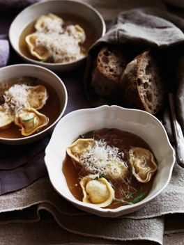 Tortellini in brodo - make your own chicken stock & roll your own pasta.