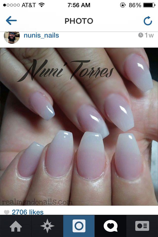 Natural pink and white gel nail set w/ a ballerina shaped nail