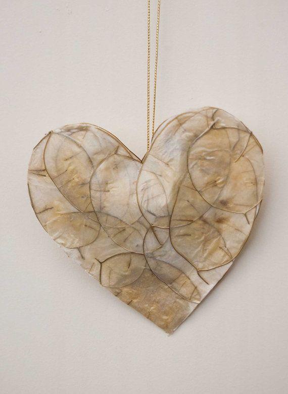 Elfenbein Creme hängen Liebe Herz Dekoration von CadeauDeLaNature