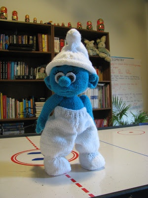 Knitted Smurf doll