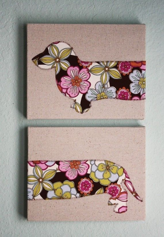 Dachshund wall hanging - Two 8x10 panels in chocolate floral print