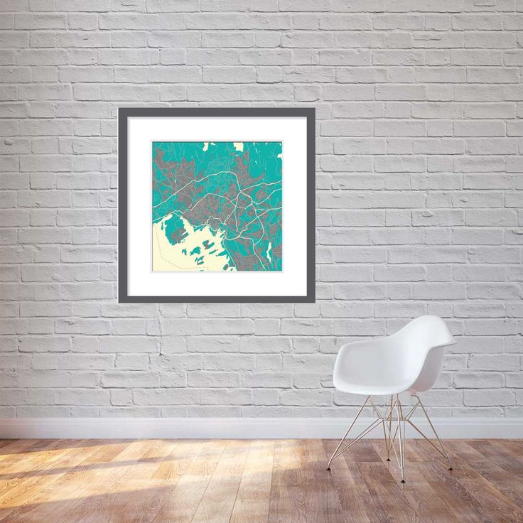 Print, canvas 90cm x 90cm - Oslo in Northern lights colours.