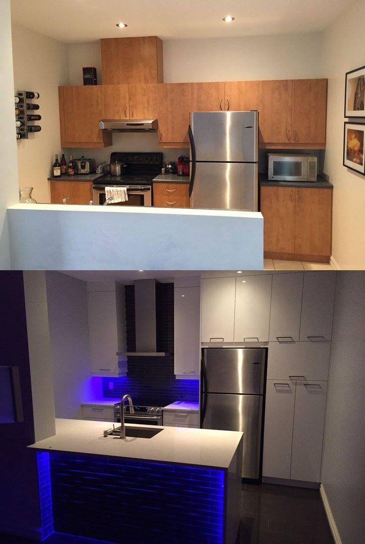 Merci à M. Probst pour l'envoi de ses photos avant et après de sa nouvelle #cuisinesaction Matériel : Acrylux blanc  Comptoir : Quartz