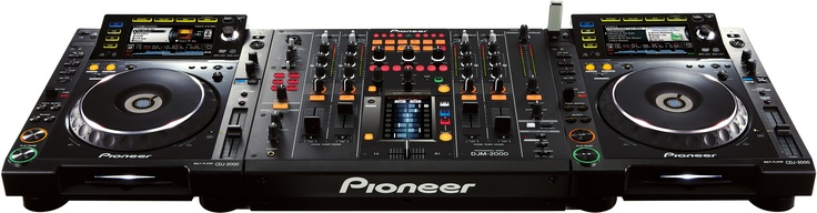 Two Pioneer CDJ-2000s and a Pioneer DJM-2000  Oh gosh. This is amazing.  Overwhelmingly awesome