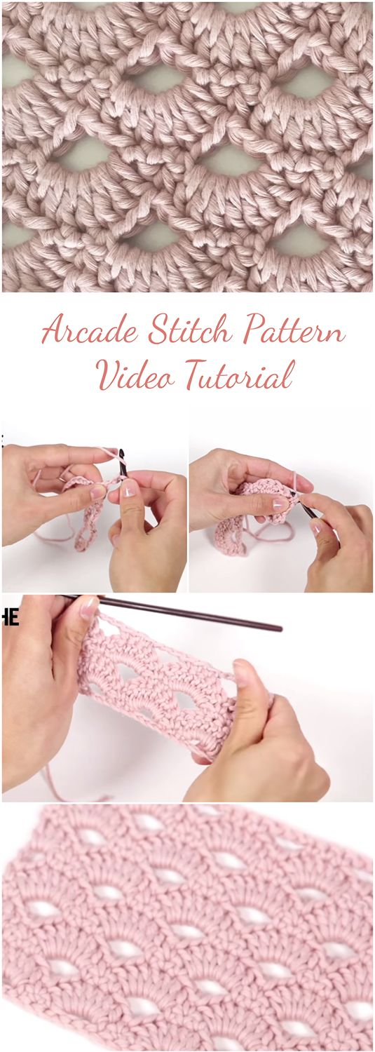 Article for those who want to learn how to crochet an arcade stitch pattern by following a step-by-step tutorial with an additional video ... | Crochet For Beginners | Crochet Stitch | Free Video Crochet | Crochet Tutorial | #Crochet #Crochetforbeginners #stitch #crochetstitch #crochettutorial