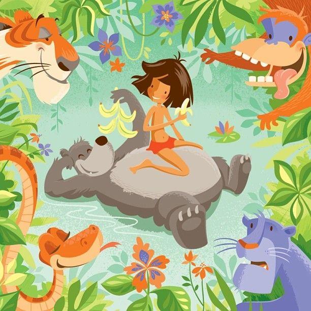Jungle Book Print by artist? ||| love it. Mowgli, mancub, Baloo, bear, Shere Khan, tiger, Kaa, snake, Bagheera, panther, King Louie, orangutan, Disney version of Rudyard Kipling's The Jungle Book