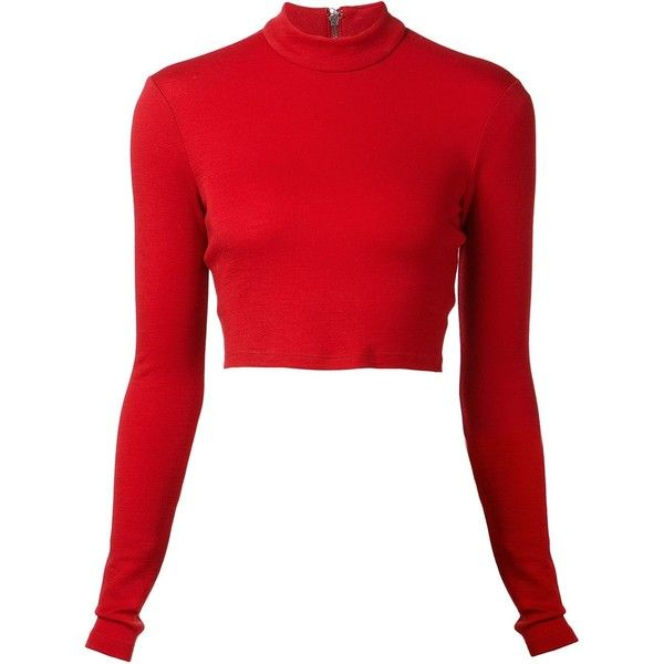 Alice+Olivia cropped top (€110) ❤ liked on Polyvore featuring tops, shirts, crop tops, sweaters, red, long sleeve shirts, long sleeve crop top, wool long sleeve shirt, red long sleeve top and wool shirt