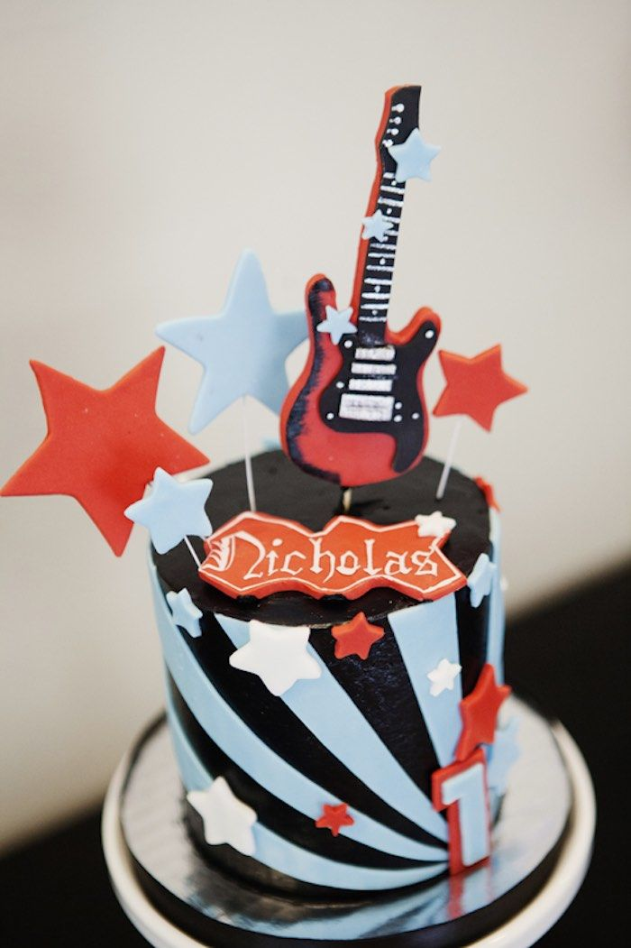 Cake from a Rock Star Birthday Party via Kara's Party Ideas | KarasPartyIdeas.com (24)