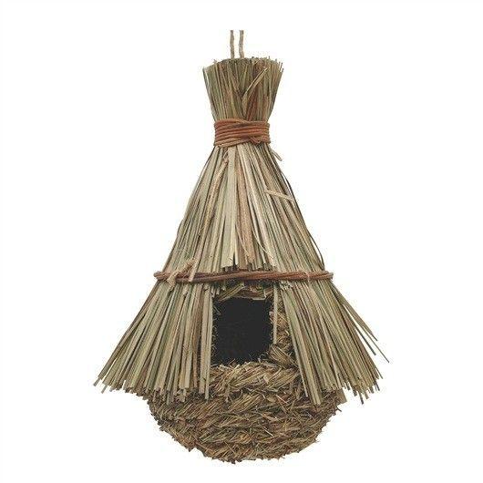 Nido Exterior Hierva Huerto Tipo Choza LIVING WORLD - #FaunAnimal Nidos de exteriores para pájaros silvestres está diseñado específicamente para proporcionar las aves silvestres con un refugio seguro para el descanso y cría.