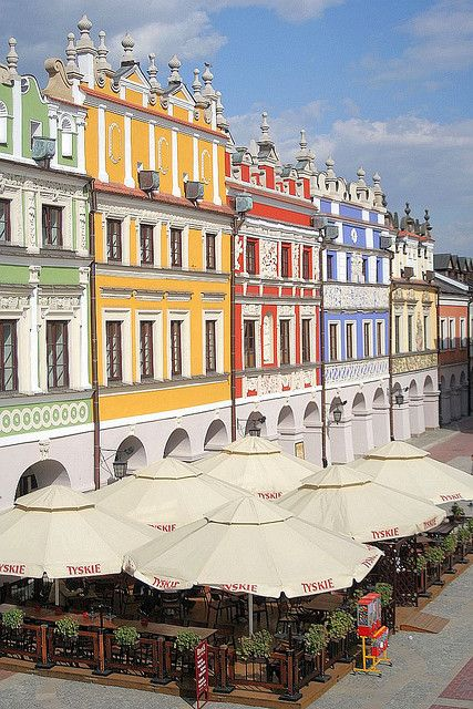 Colorful Old Town Square, Zamosc, Poland