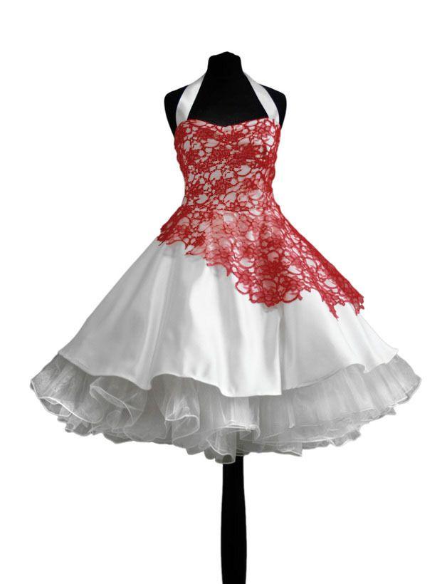 Brautkleid Petticoatkleid beeren rot Hochzeitsklei