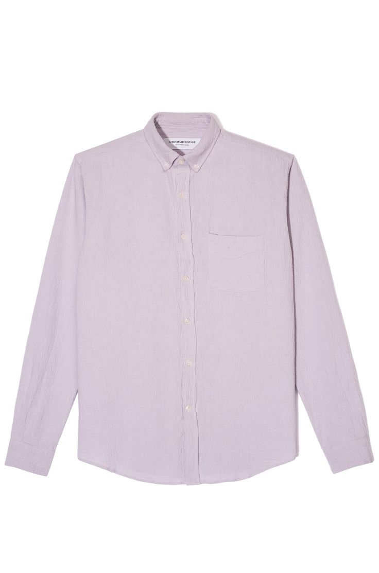 L'Homme rouge, Pale pink crepes shirt in cotton and linen mix.