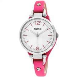 Fossil Women's ES3299 Georgia Three-hand Pink Leather Skinny Strap Watch - product - Product Review