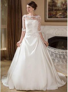 Vestidos princesa/ Formato A Sem Alças Cauda de sereia Cetim Vestido de noiva com Pregueado - R$ 479,50