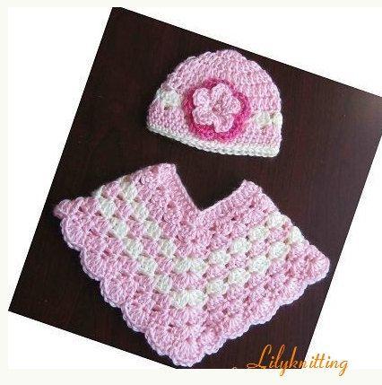 PATRÓN de niño del bebé del ganchillo Poncho (Poncho 1), 6-9 meses y 9-12 meses