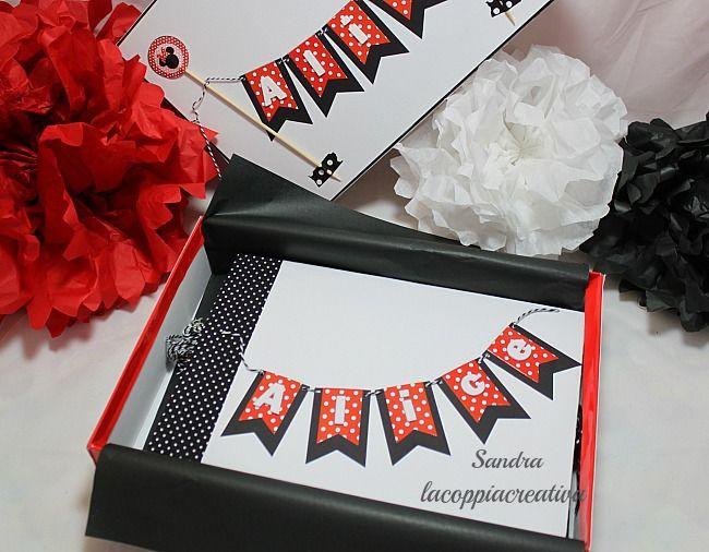 Mini album in scatola per compleanno a tema Minnie - Sandra