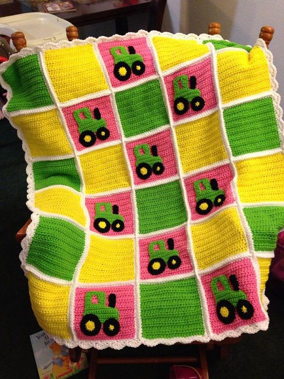 John Deere Tractor baby blanket and toy by CrochetToDisneyLand, $125.00
