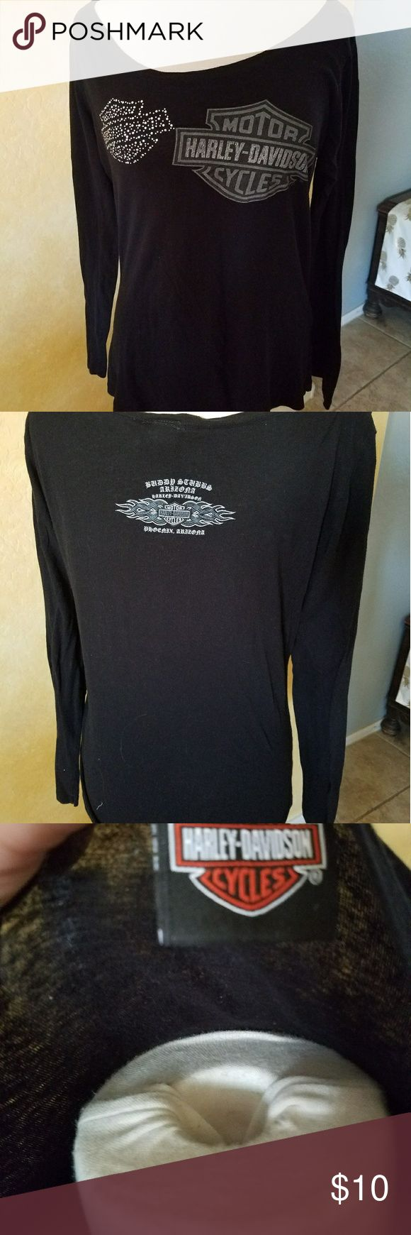 Sexy Harley Davidson bling shirt Lightweight bling. Small tear in front bottom of shirt as noted in pictures. Still wearable. Harley-Davidson Tops Tees - Long Sleeve