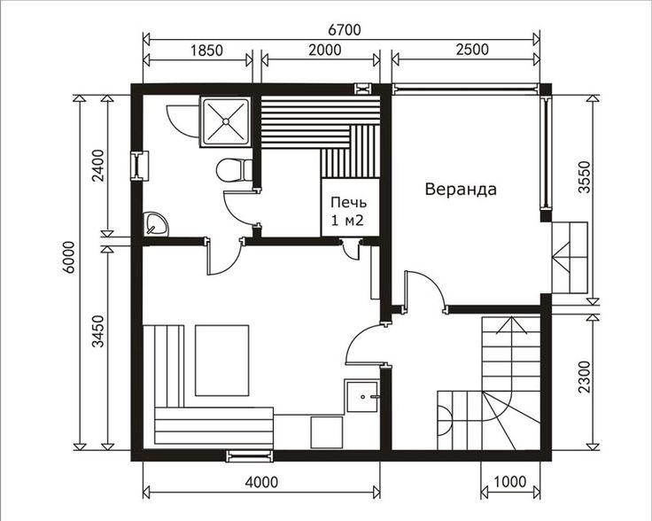 план 1 этаже дома бани 4х6+2,5 под двускатной крышей на Доброй бане